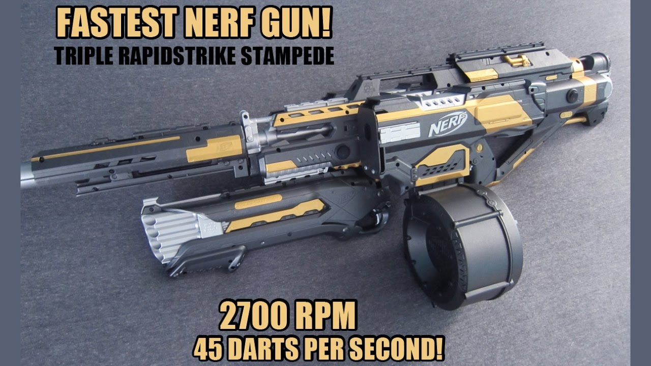 FASTEST NERF GUN!!! [TRIPLE RAPIDSTRIKE STAMPEDE w/ ROUGHCUT INTEGRATION]