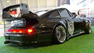 RC MODEL DRIFT CAR PORSCHE 911 TURBO COUPE FROM THE EIGHTIES IN ACTION!!