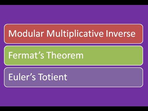Modular Multiplicative Inverse | Fermat's Theorem | Euler's Totient