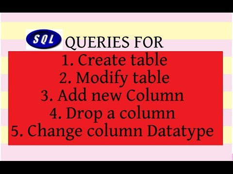 SQL TUTORIAL-4 (Create table, Alter table, ADD and DROP column, MODIFY Column Data type)