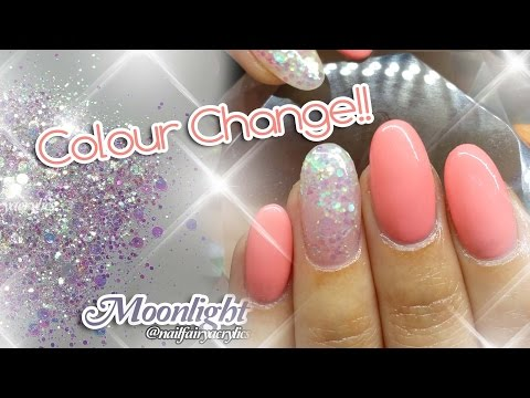 Acrylic nails design with colour change gel polish | featuring Moonlight glitter