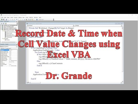 Record Date and Time when Cell Value is Changed using Excel VBA
