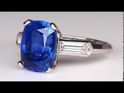 GIA 5 Carat No Heat Blue Sapphire Engagement Ring Cushion Cut
