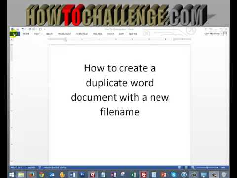 How To Create A Duplicate Word Document With A New Filename