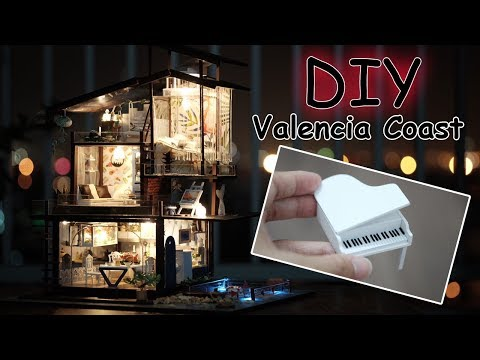 DIY Miniature Dollhouse Kit || Valencia Coast ( with full furniture and light )