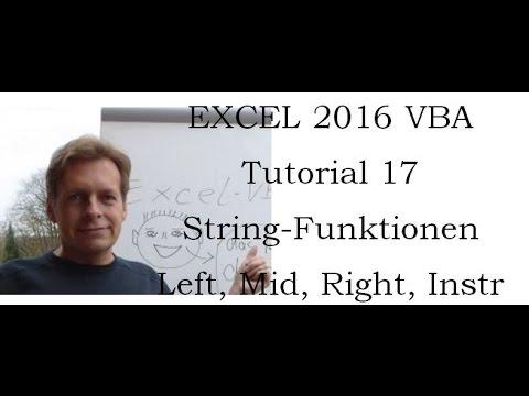 Excel Vba Tutorial 17 String Funktionen Instr