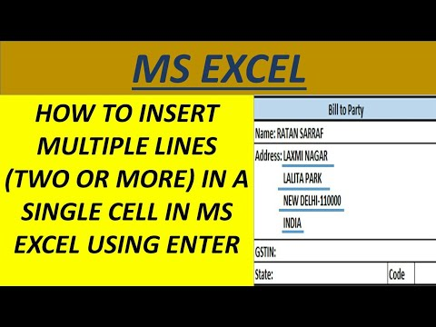 MS EXCEL : How to insert multiple lines in a single cell in excel using enter