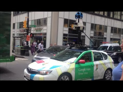 Google Maps Car Driving Through Manhattan Recording Images To Update Google Street View & GPS