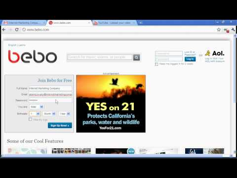 How to sign up for a bebo profile