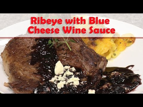 Bone-in Rib-eye with Blue Cheese and Wine reduction