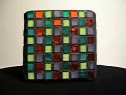 Four Color Mosaic Candle Holder (teal, orange, lime, purple)