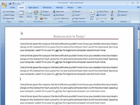 How to add a hyperlink to Word 2007 documents