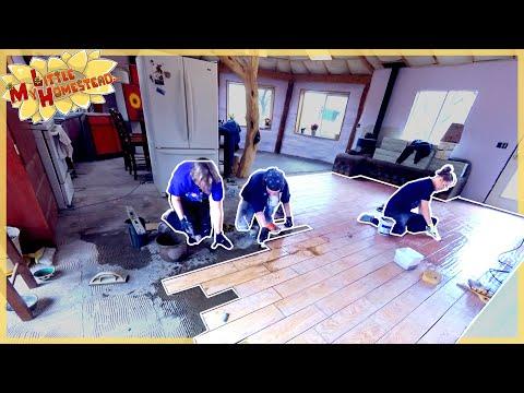 Demo Floor & Install Wood Tile  | Earthbag Kitchen & Bath Ep36 | Weekly Peek