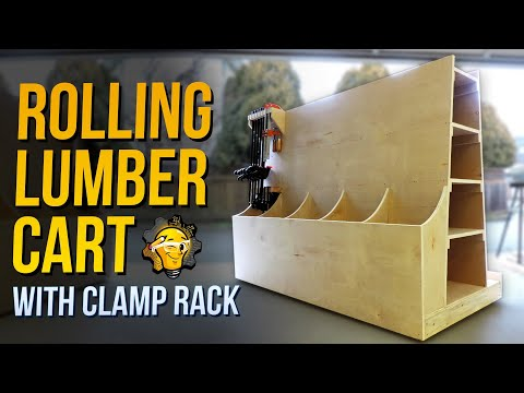 How To: Build a Rolling Plywood Lumber Storage Cart with Clamp Rack