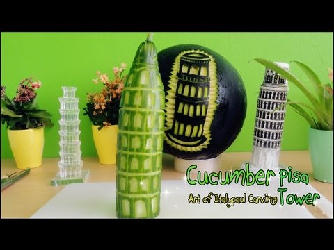 Art In Cucumber Leaning Tower of Pisa - Fruit & Vegetable Carving Garnish