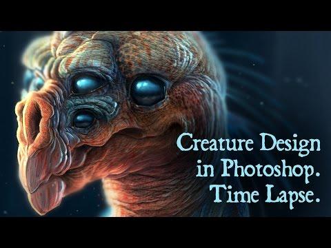 Photoshop Creature Concept Design, Time Lapse
