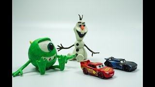 CARS 3 Diecast TOYS OLAF & MIKE PLAY DOH Stop Motion RACE Jackson Storm & Lightning McQueen Cartoon