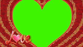 LOVE|wedding frame green screen video|golden heart - PakVim