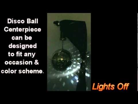 50th Theme Mirror Disco Ball Centerpiece Black Silver Gold