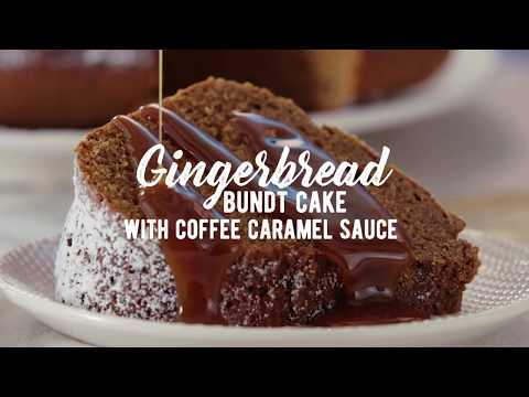 Gingerbread Bundt Cake with Coffee Caramel Sauce