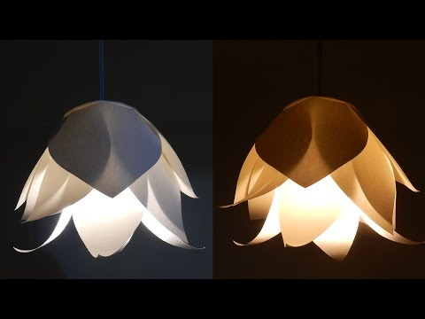 DIY flower lamp - learn how to make a paper flower lampshade for a pendant light - EzyCraft