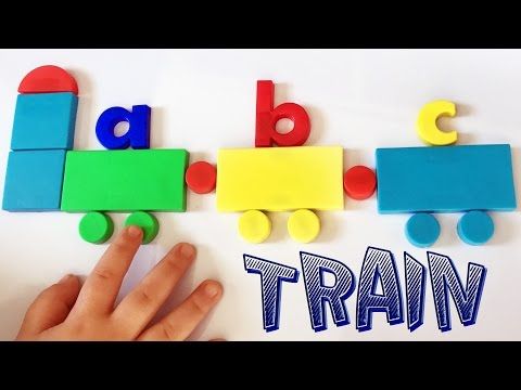 Learn the lower-case ALPHABETS, SHAPES, COLORS with magnet letters & shapes. ABC's Train.
