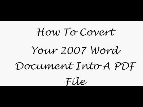 How To Save Your 2007 Microsoft Word Document  As A PDF File