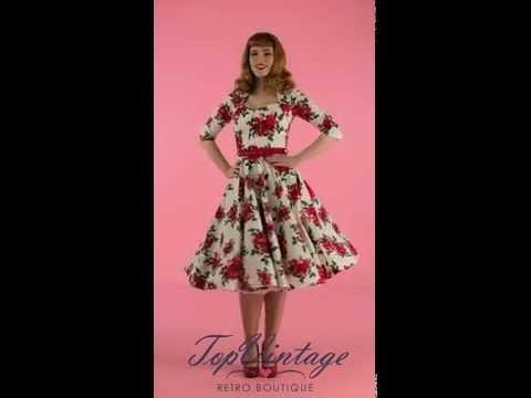TopVintage - Eternity 50s White Swing Dress Red Roses