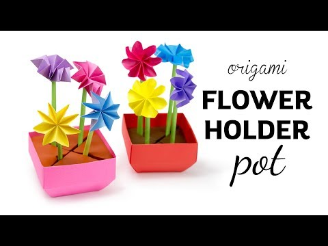 Origami Flower Pot ❁ Stem Holder & Flowers ❁ Paper Kawaii
