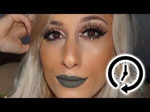 2 MINUTE TUTORIAL 🕐 || Edgy Makeup Look with Rhinestones || DYNA