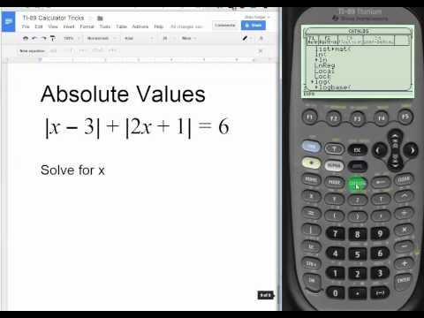 Absolute Values on TI 89 Titanium Calculator