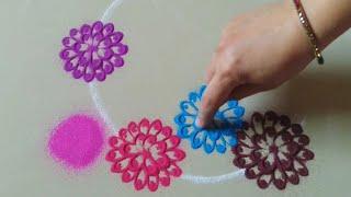 Very easy and beautiful everyday rangoli design by Jyoti Raut Rangoli