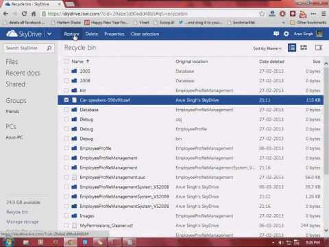 How to recover deleted files on Skydrive.