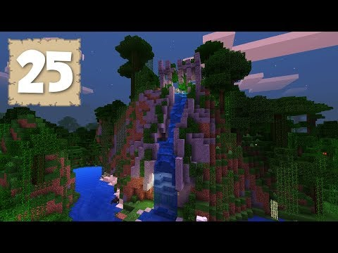 A BEAUTIFUL WATERFALL & TEMPLE RUINS!! - Survival Let's Play Ep. 25 - Minecraft 1.2.5