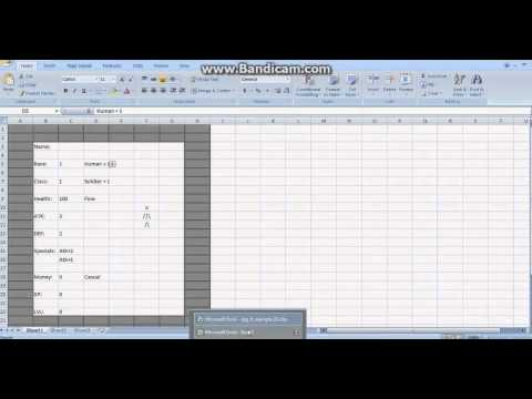 Dropdown menu - Microsoft Excel RPG character sheet tutorial 1