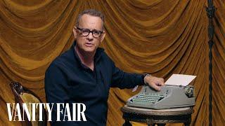 Tom Hanks Changes the Ribbon on a Typewriter   Secret Talent Theatre   Vanity Fair