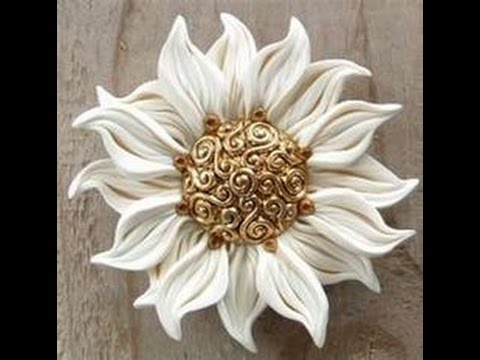 DIY how to make clay Sun Flower accessories  tutorial