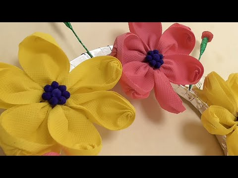 Best out of Waste Carry Bags Flower Wall Art || Handmade Wall Decor Using shopping Bags || DIY