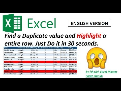 Find Duplicate & Highlight Entire Row (Just In 30 Seconds)