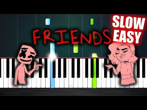 Marshmello & Anne-Marie - FRIENDS - SLOW EASY Piano Tutorial by PlutaX
