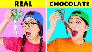 REAL VS CHOCOLATE FOOD CHALLENGE DONA Mukbang