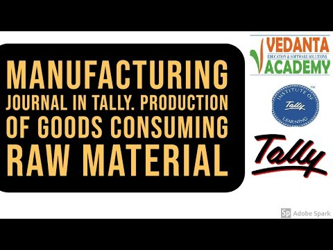 Manufacturing Journal In Tally. Production of Goods Consuming raw material