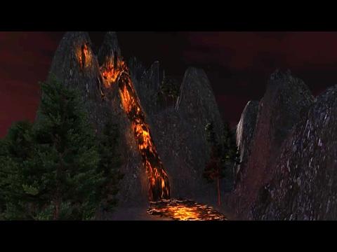 Speed Level Design - Erupting Volcano at Night - (Unity5)
