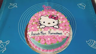 Dekorasi Kue Ulang Tahun Hello Kitty Ungu Syantik