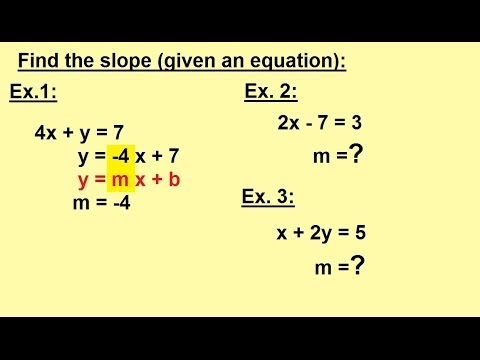 Algebra - Word Problems - Finding the slope (when given an equation).