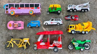 Showing Various Toy Vehicles, City Bus, Ambulance, Bicycle, Auto Rickshaw, Crane Truck and many more