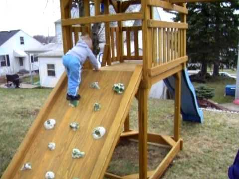 Logan & Swingset 3: Rock wall success!