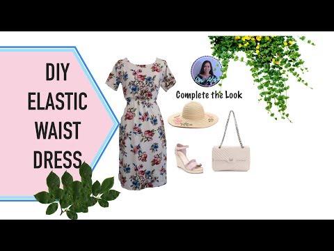 DIY ELASTIC WAIST DRESS   CUTE SPRING AND SUMMER DRESS   EASY A-LINE DRESS   DIY BLOUSON DRESS