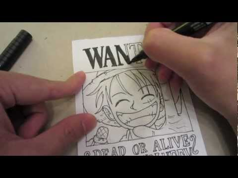 How to draw wanted poster of Luffy モンキー・D・ルフィ