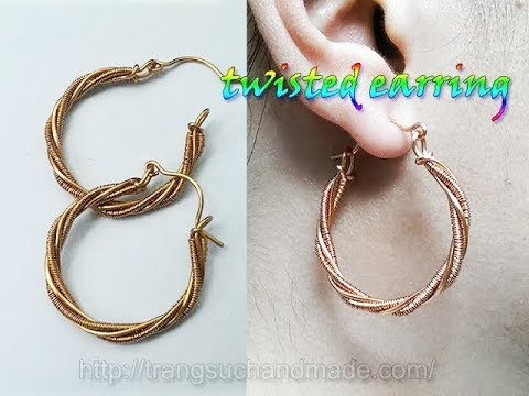 Twisted earring from copper wire - handmade jewelry design 344